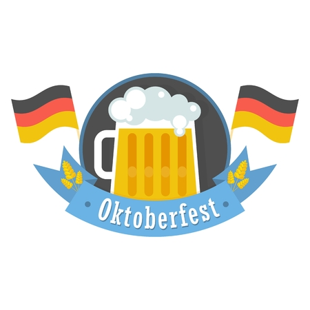 beer stein: Vector Oktoberfest. Bavarian man and woman celebrating Oktoberfest. Design elements for marketing, advertising and media. Flat cartoon illustration. Objects isolated on white background.