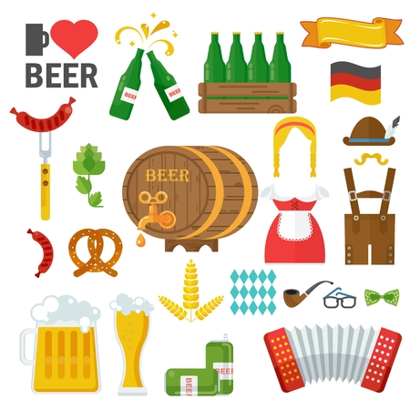 lederhosen: Beer vector icon set. Oktoberfest beer vector set. Design elements for marketing, advertising, promotion, branding and media. Flat cartoon illustration. Objects isolated on a white background.
