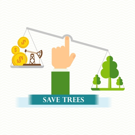 toxic emissions: Vector eco concept save trees. Green trees and money on scales. Design elements for advertising and media. Flat cartoon illustration. Objects isolated on white background.