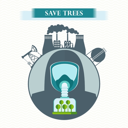 gas man: Vector eco concept save trees. Tree clean air, factory pollutes atmosphere. Man in gas mask breathe clean air. Trees purify atmosphere. Flat cartoon illustration. Objects isolated on white background.