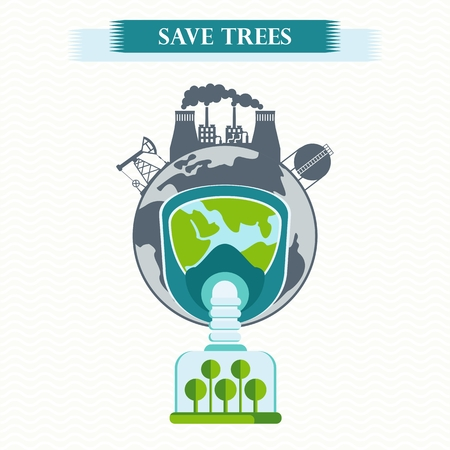 purify: Vector eco concept save trees. Tree clean air, factory pollutes atmosphere. Earth in gas mask breathe clean air. Trees purify atmosphere. Flat cartoon illustration. Objects isolated on background.
