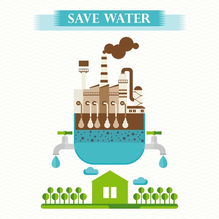 filtering: Vector eco concept save water. Water purification from impurities. Filtering of wastewater. Design elements for advertising and media. Flat cartoon illustration. Objects isolated on white background.