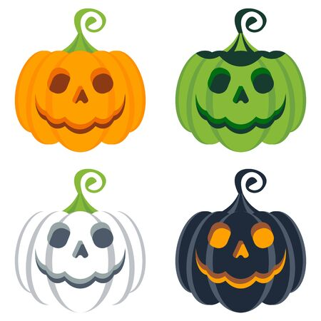 helloween: Vector set of helloween colored pumpkins. Halloweeen party poster. Halloweeen icon. Design elements for advertising and promotion. Flat cartoon illustration. Objects isolated on white background. Illustration