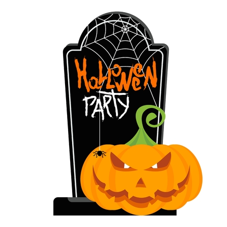 Vector Halloween pumpkin on graveyard. Halloween party poster. Halloween icon. Design elements for advertising and promotion. Flat cartoon illustration. Objects isolated on white background.