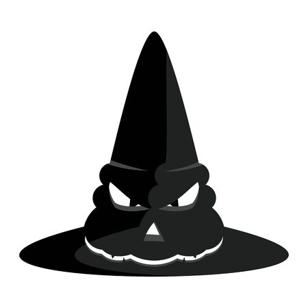 helloween: Vector black witches hat. Halloween party poster. Halloween icon. Design elements for advertising and promotion. Flat cartoon illustration. Objects isolated on white background.