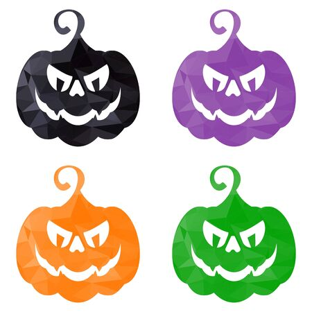helloween: Vector set of low poly triangular helloween colored pumpkins. Halloweeen icon. Design elements for advertising and promotion. Flat cartoon illustration. Objects isolated on white background.