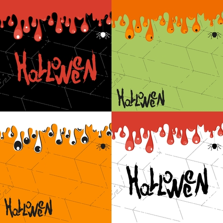 cobwebs: Vector halloween background for party poster. Halloween text with frame of mucus or blood with cobwebs. Flat cartoon illustration. Objects isolated on background.
