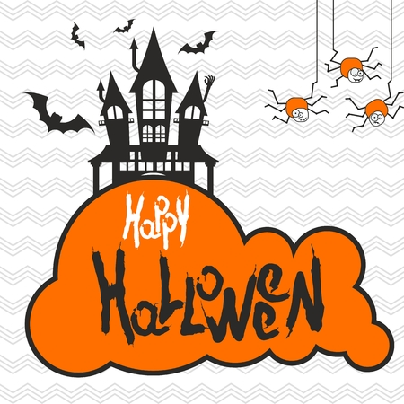 Vector minimalistic design halloween party poster template. Old castle in cemetery. Bats, mound, skulls and zombies. Flat cartoon illustration. Objects isolated on white background.