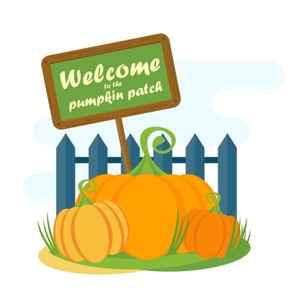Vector Pumpkin Patch vicino alla rete fissa con puntatore. Modello per cartoline, volantini. Elementi di design per la pubblicità e media. illustrazione piatta cartone animato. Oggetti isolati su sfondo bianco.
