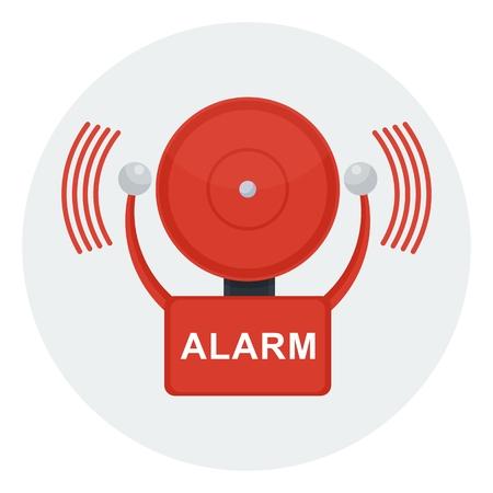 Vector rode brand alarmbel. Automatische brandalarm. Objecten geïsoleerd op een witte achtergrond. Vector Illustratie