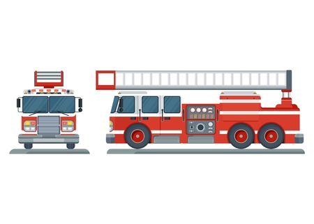 emergency engine: Vector isolated red fire engine front, side. Fire truck rescue engine transportation. Firefighter emergency. Flat cartoon illustration. Objects isolated on a white background. Illustration