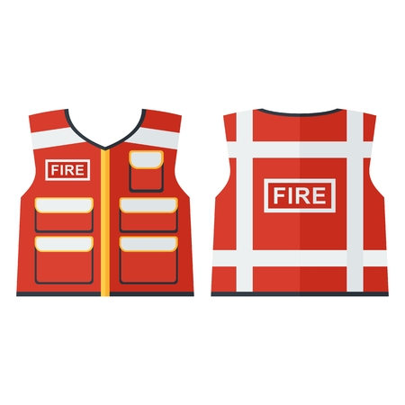 work wear: Vector red high visibility vest. Work wear, protection wear for firefighter and fireman. Firefighter emergency. Flat cartoon illustration. Objects isolated on a white background. Illustration