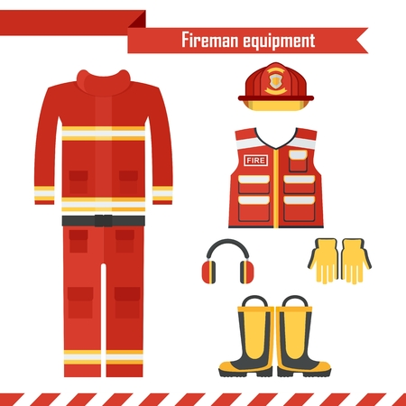 safety shoes: Vector safety equipment. Red high visibility protection wear for firefighter and fireman. Fire suit, vest, helmet, mask and boots. Flat cartoon illustration. Objects isolated on white background.