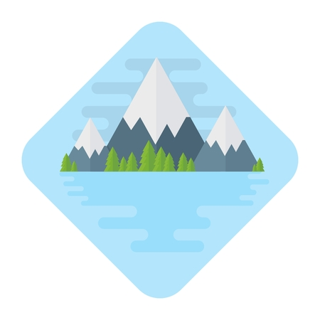 Vector flat mountains. Landscape with mountains, lake and forest. Silence, tranquility, relaxation. Flat cartoon illustration. Objects isolated on a white background.