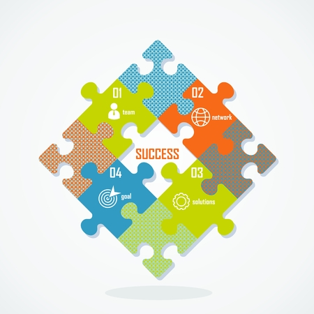 Vector success. Success concept image. Puzzle of success in business and life. Team, goal, network, solutions. Flat cartoon illustration. Objects isolated on white background.