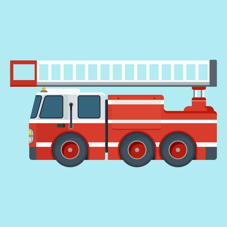 emergency engine: Vector cartoon red fire truck. Fire truck rescue engine transportation. Firefighter emergency. Flat cartoon illustration. Objects isolated on a white background.