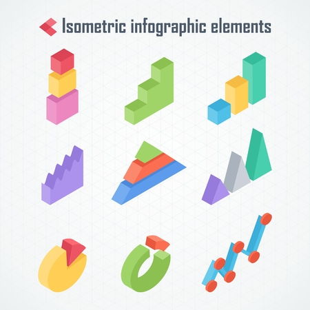 Isometric 3d Vector Charts Pie Chart Donut Chart Layers Graphs