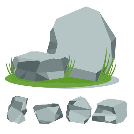 Stenen op het gras. Set van rock stenen. Platte steen cartoon illustratie. Objecten geïsoleerd op een witte achtergrond. Stock Illustratie
