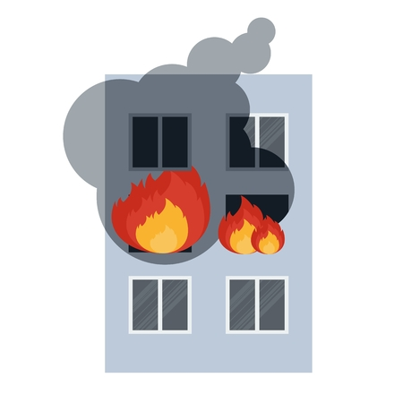 fire damage: Vector . Flat cartoon illustration. Objects isolated on a white background. Illustration