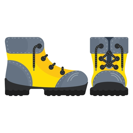 Shoe. Yellow boots. Yellow shoes for tourism, work shoes. Flat cartoon boots illustration. Objects isolated on a white background.