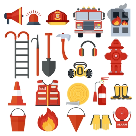 Set of fire equipment. Vector . Flat cartoon illustration. Objects isolated on a white background. Illustration