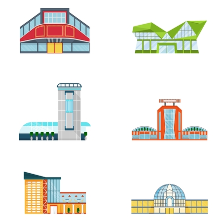 market place: Vector shopping mall building. Set of colorful city store. Market shop place. Flat cartoon supermarket illustration. Objects isolated on a white background. Illustration