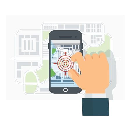 gps navigation: Mobile GPS Navigation. Mobile Phone. Mobile Technologies Concept. Flat cartoon vector navigation illustration. Objects isolated on a white background.