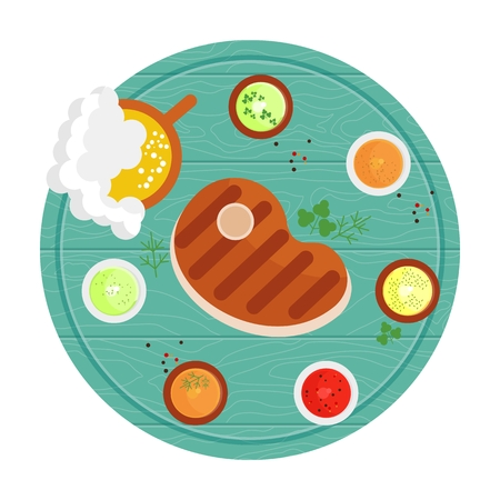 sauces: Steak grilled on a wooden tray with sauces and spices. Beer menu. Flat cartoon steak illustration. Objects isolated on a white background.