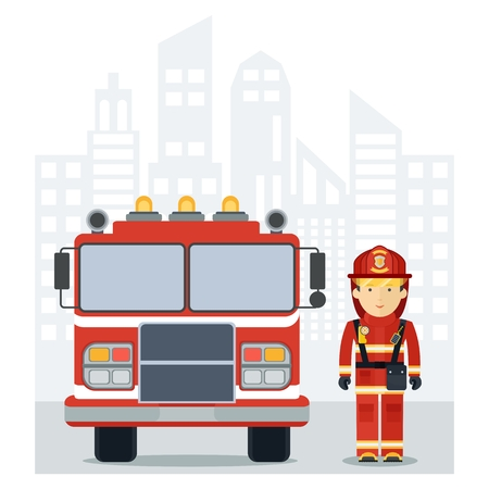 man eater: Fire man with a fire truck in the city. Firefighter profession. Firefighter in work wear. Flat cartoon fire man illustration. Objects isolated on a white background.
