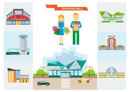shopping center interior: Vector shopping mall building. Set of colorful city store. Market shop place. A couple on shopping with shopping bags. Flat cartoon supermarket illustration. Objects isolated on a white background.
