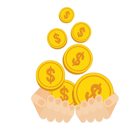 pound coin: Hands hold flow of gold coins. Concept of wealth and success. Flat cartoon coins illustration. Objects isolated on a white background. Illustration