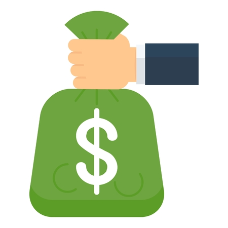 Hand holds bag of money. Concept of a bank loan. Flat cartoon loan illustration. Objects isolated on a white background.