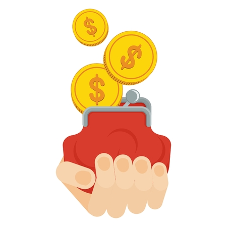 Hand holding purse with a stream of gold coins. Concept of wealth and success. Flat cartoon coins illustration. Objects isolated on a white background.