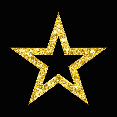 black star: Gold luxury fashion shiny star. Decorations for Christmas, New Year celebration. Flat cartoon star illustration. Objects isolated on a white background.
