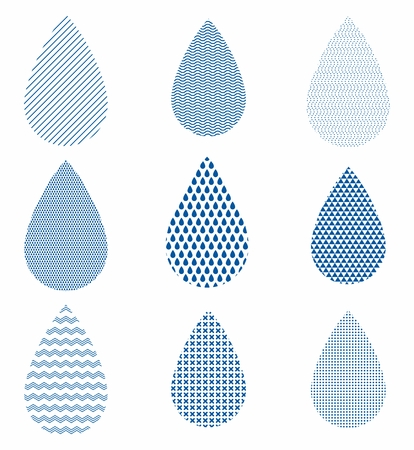 water ripple: Set of water drops with different textured backgrounds. Flat cartoon stars illustration. Objects isolated on a white background. Illustration