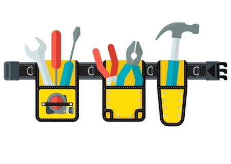 Ceinture avec des outils. Image conceptuelle d'outils de réparation, de construction et de construction. Image conceptuelle de l'usure du travail. Illustration vectorielle à dessin animé. Objets isolés sur fond blanc.