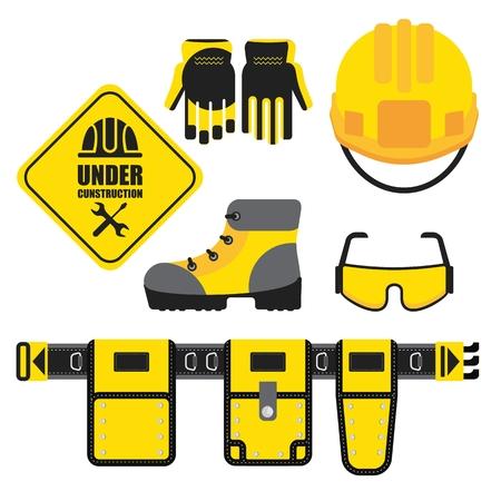 Ensemble d'icônes d'équipement de protection. image conceptuelle d'outils pour la réparation, la construction et le constructeur. image concept de vêtements de travail. illustration vectorielle Cartoon plat. Objets isolés sur un arrière-plan. Vecteurs