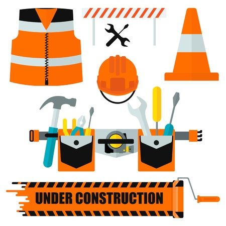 respiratory protection: Set of protective equipment icons. Conceptual image of tools for repair, construction and builder. Concept image of work wear. Cartoon flat vector illustration. Objects isolated on a background.