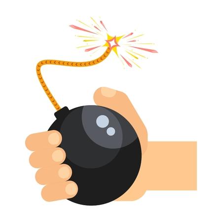 Hand houdt zwarte bom met verlichte pit. Platte cartoon bom illustratie. Objecten geïsoleerd op een witte achtergrond.