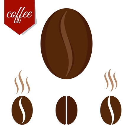 fragrant: Set of fragrant brown coffee beans. Flat cartoon coffee beans llustration. Objects isolated on a white background.