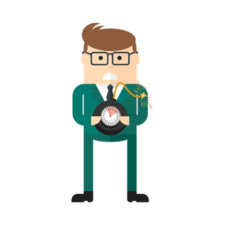 financial cliff: Businessman with bomb. Concept of business risk. Management, leadership and innovation. Flat cartoon bomb illustration. Objects isolated on a white background.