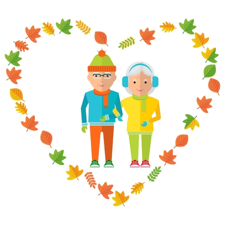 older couple: Elderly couple in love wear in warm clothes. Healthy life, walking in the autumn park. Flat cartoon elderly couple illustration. Objects isolated on a white background. Illustration