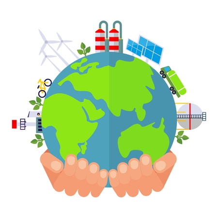 hands holding earth: Hands holding earth. Solar energy and wind energy. Dirty city, factories and air poliution. Image for earth day, world environment day. Ecology design concept.