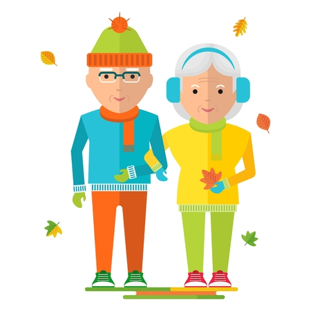 happy mature couple: elderly couple in warm clothes. Healthy life, walking in the autumn park. Flat cartoon elderly couple illustration. Objects isolated on a white background. Illustration