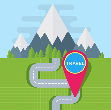 Map pin point in the travel map. Road to the mountains, terrain map, orienteering map. Flat cartoon illustration. Objects isolated on a white background.