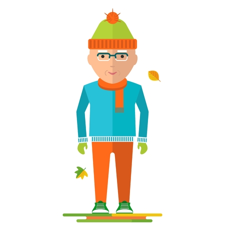 older couple: Elderly man in warm clothes. Healthy life, walking in the autumn park. Flat cartoon elderly man illustration. Objects isolated on a white background. Illustration