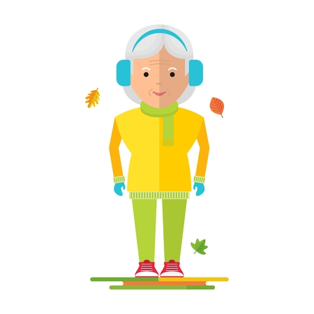older couple: Elderly woman in warm clothes. Healthy life, walking in the autumn park. Flat cartoon elderly woman illustration. Objects isolated on a white background.