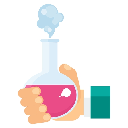 chemical experiment: Hand holds test tube with reagent. Science research and chemical experiment concept. Flat cartoon illustration. Objects isolated on a white background.
