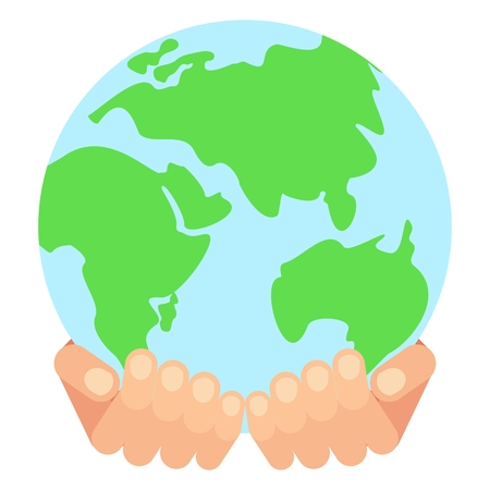 flat earth: World hands. Save earth concept. Flat vector cartoon earth illustration. Objects isolated on a white background. Illustration