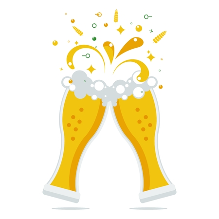 beer stein: Clink two beer glasses. The expanding foam and spray. Festive celebration or meeting. Vector flat cartoon beer illustration. Objects isolated on a white background.